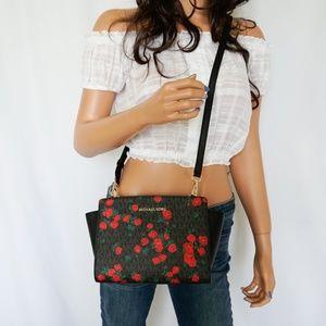 Michael Kors Selma MD Crossbody Bag MK Black Rose